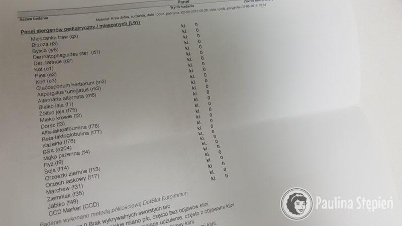 Testy z krwi, tutaj był panel pediatryczny, mieszany, który nic nie wykazał, to chyba robiłam dwa lata temu