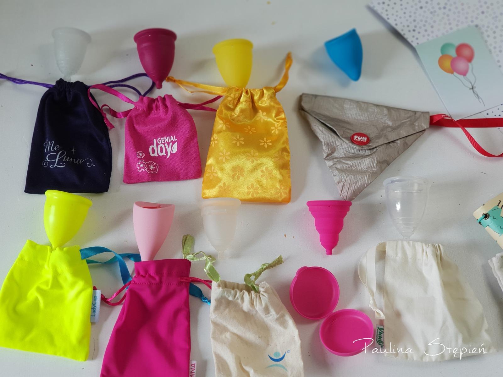 Część z testowanych kubeczków menstruacyjnych