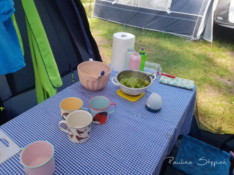Stół i w tle moskitiera