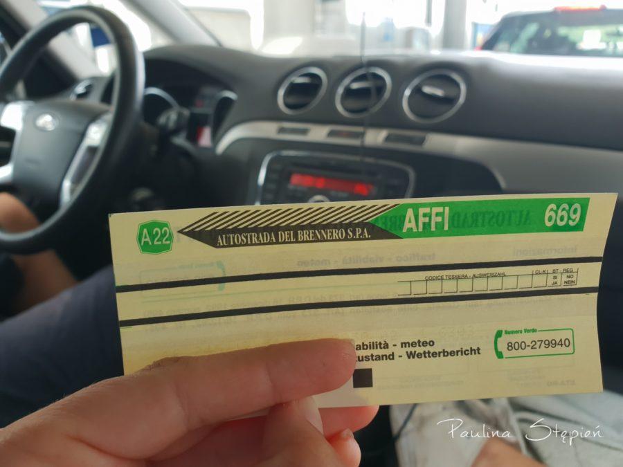Koszty, tutaj z biletem autostradowym