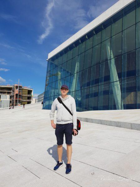 Tu Michał ze swoją sakwą w Oslo
