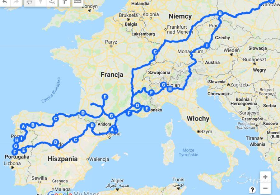 Mapa naszej podróży